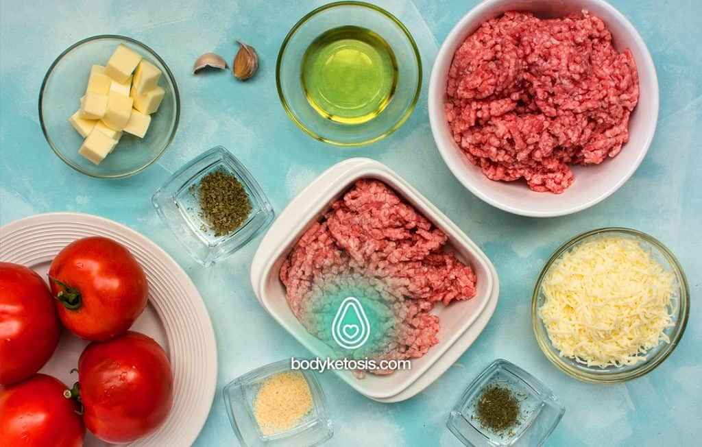 ingredients of keto stuffed meatballs
