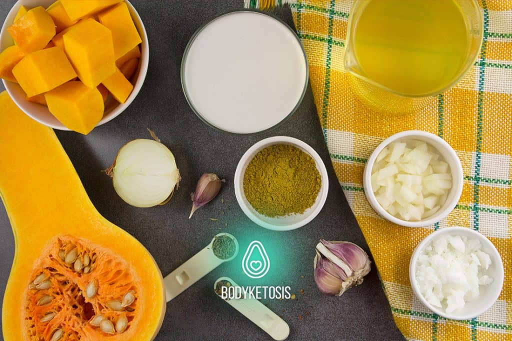 ingredients of Keto Curried Butternut Squash Soup