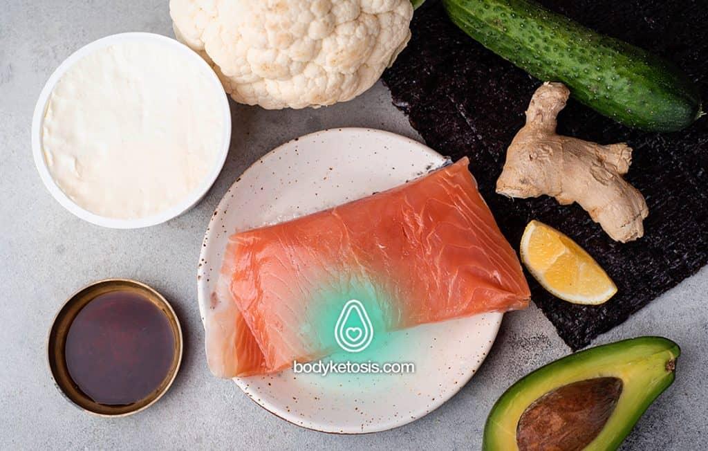 ingredients of keto sushi